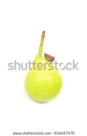 Pear vith dry leaf isolated on white background - stock photo