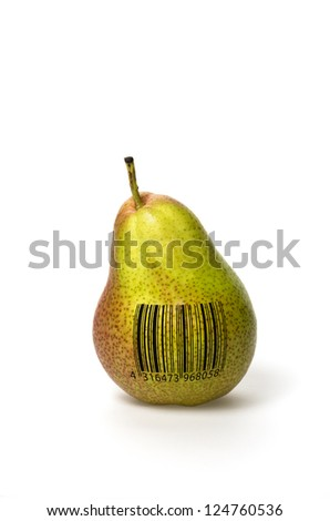 Pear with barcode