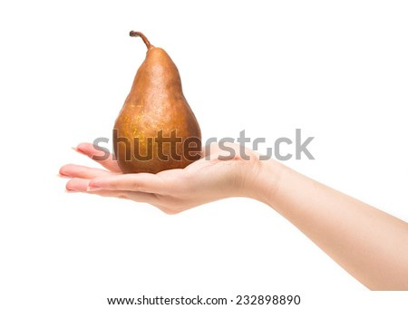 pear with hand isolated on a white background - stock photo