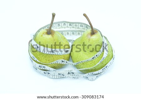 Pear with Measure Tape on White Background, Selective Focus