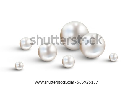 Pearl background with small and big white pearls isolated on white background