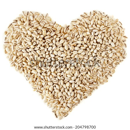 pearl barley shape heart close up surface top view background