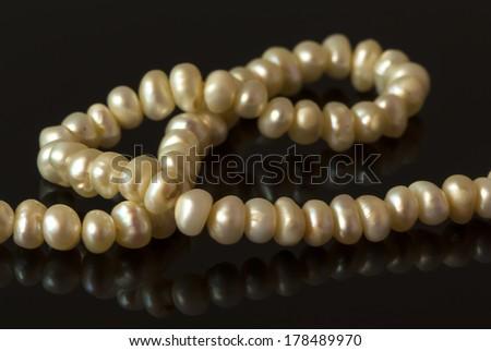 pearl beads - stock photo