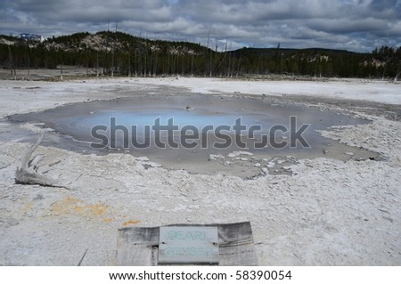 Pearl Geyser at Yellowstone National Park - stock photo