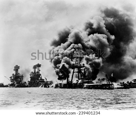 Pearl Harbor: three stricken U.S. battleships. Left to right: U.S.S. West Virginia, severely damaged; U.S.S. Tennessee, damaged; and U.S.S. Arizona, sunk, December 7, 1941 - stock photo