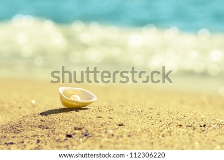 Pearl in shell on the beach - stock photo