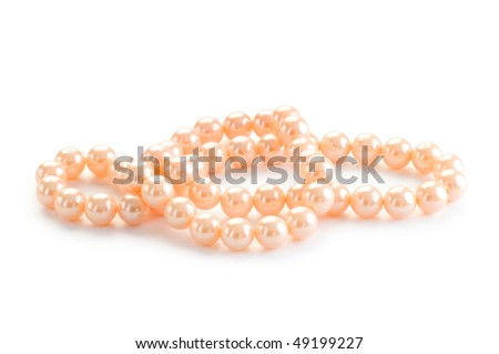 Pearl necklace isolated on the white background
