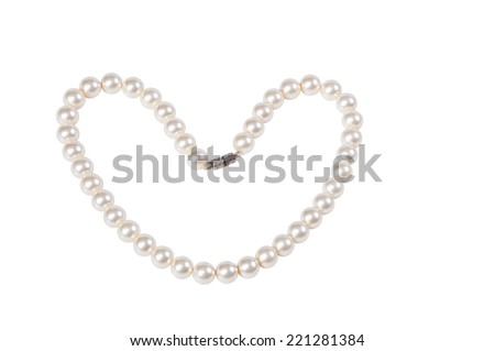 Pearl necklace isolated on white - stock photo
