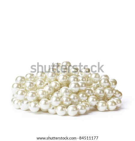 Pearl necklace on white background.