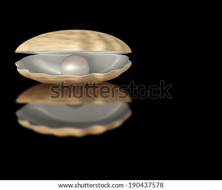 pearl on a black background - stock photo