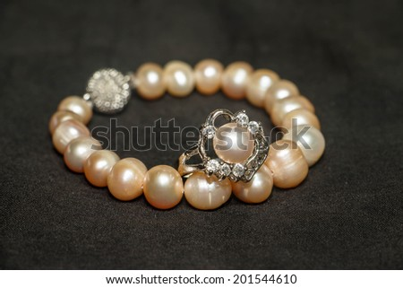 pearl ring - stock photo