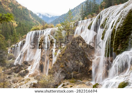 Pearl Shoal Waterfall, Jiuzhaigou Nature Reserve, Sichuan Province, China in autumn.