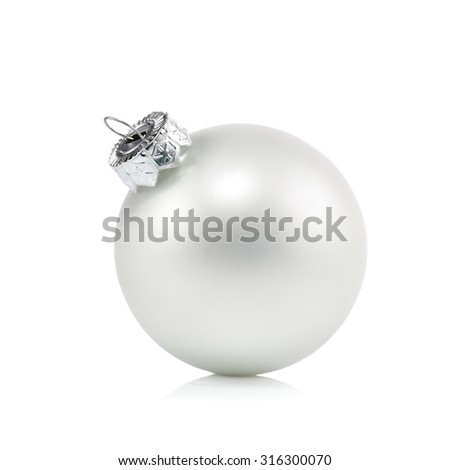 Pearl white Christmas ball ornament on a white background - stock photo