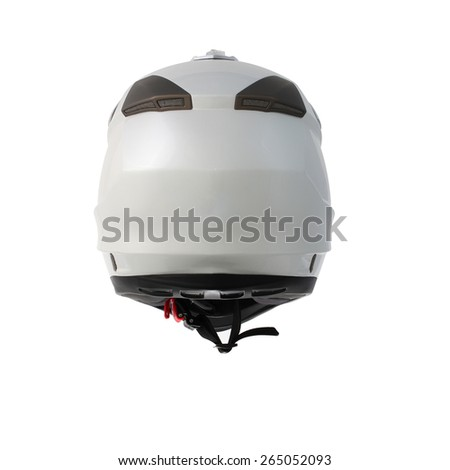 Pearl white motocross motorcycle helmet Isolated on white background
