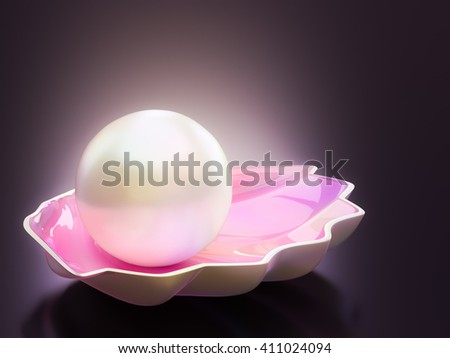 Pearls and shells in the background 3D rendering. - stock photo