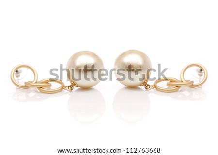 pearls earrings - stock photo