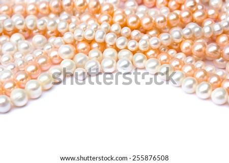 Pearls on a white background - stock photo