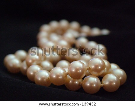 Pearls on Black fabric