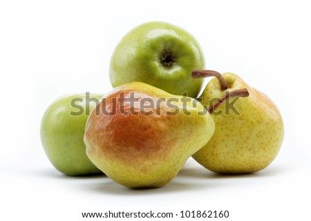 pears and apple isolated on white background - stock photo