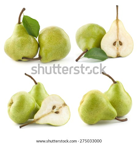 pears and half isolated on white background  - stock photo