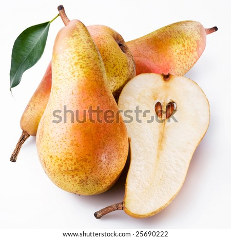 Pears are on a white background