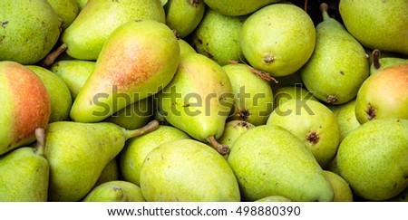 Pears at a market in Catania, Sicily