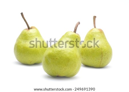 Pears fruit isolated on white background - stock photo