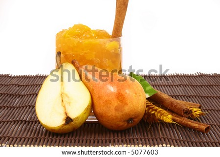 Pears on a white background-jam peach