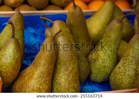Pears ready for sale on market. - stock photo