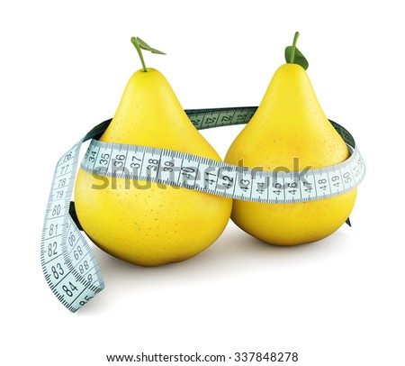 Pears with meter tape isolated on white background. 3d conceptual illustration. - stock photo
