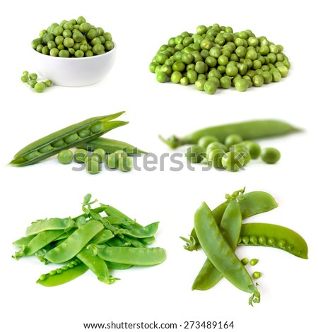Peas collection isolated on white.   - stock photo