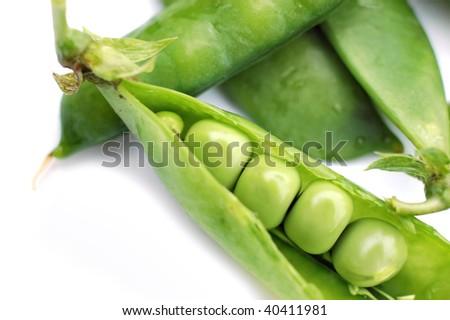 Peas on a white background - stock photo