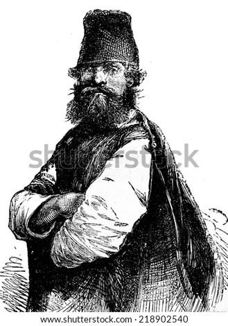 Peasant of Smolensk, vintage engraved illustration. Journal des Voyage, Travel Journal, (1879-80). - stock photo