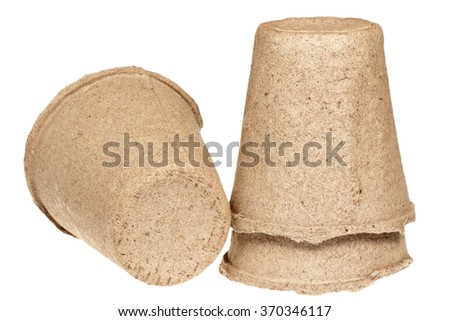 Peat pots for seedling it is isolated on a white background
