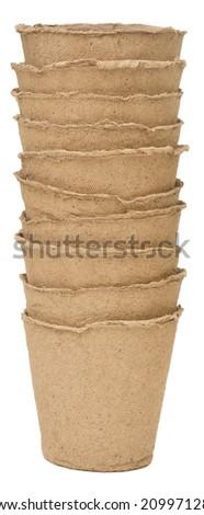 peat pots isolated on white background - stock photo