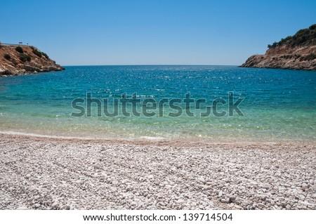 Pebble beach, Turkish Riviera - stock photo