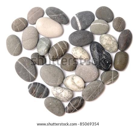 pebble heart on white - stock photo