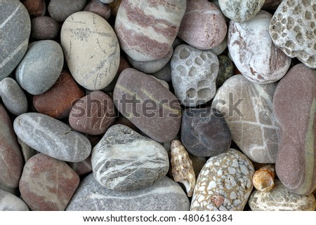Pebble stones in earth colors