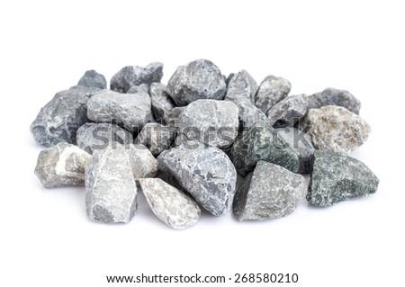 pebble stones isolate on white background. closeup - stock photo