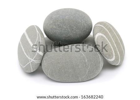 pebble stones isolated on white - stock photo