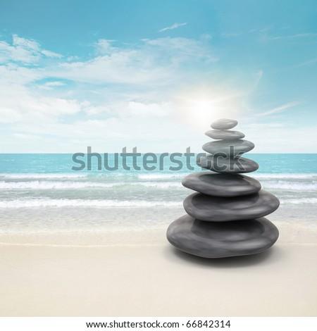 Pebble stones on beach - stock photo