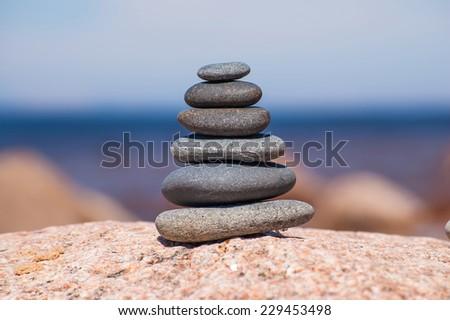 Pebble tower - stock photo
