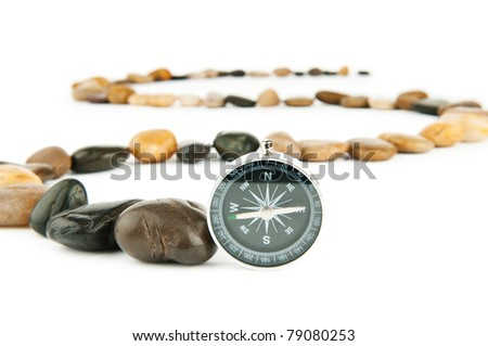 Pebbles and pebbles isolated on white - stock photo