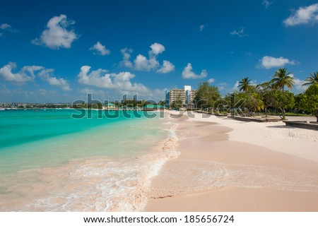 Pebbles Beach is a beautiful beaches on the Caribbean island of Barbados, not far from Bridgetown - stock photo