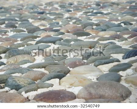 Pebbles bed - stock photo
