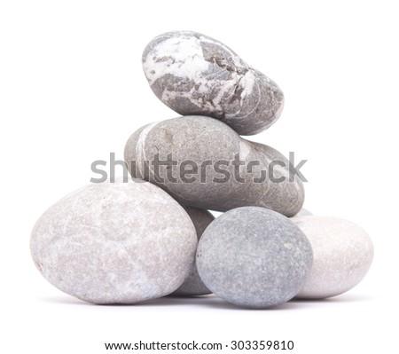 pebbles isolated on white background - stock photo