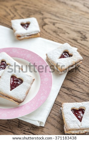Pecan Cookies with Cherry Filling - stock photo