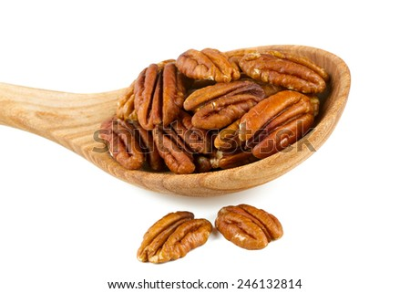 pecan nuts in a wooden spoon - stock photo