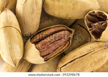 Pecan nuts in shell and without it on a white background