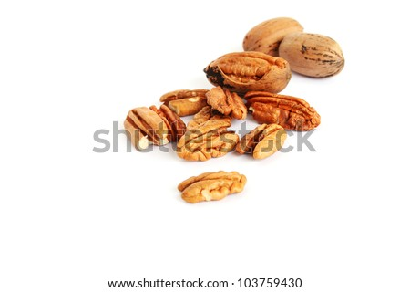 Pecan nuts isolated on white  background. - stock photo